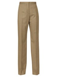 Rochas Checked Tailored Twill Trousers Brown Multi