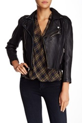Blue Pearl Washed Zipper Detail Leather Jacket Black