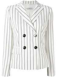 Max Mara Striped Double Breasted Blazer White
