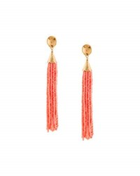 Panacea Long Seed Bead Tassel Earrings Coral