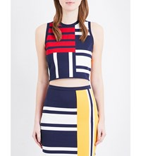 Tommy Hilfiger Gigi Hadid Patchwork Stretch Jersey Cropped Top Peacoat Multi
