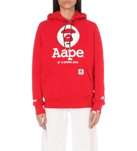 Aape By A Bathing Ape Logo Print Cotton Blend Hoody Red