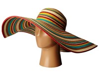 San Diego Hat Company Ubx2721 Striped Floppy 8 Inch Brim Sun Hat Multi Brown Caps