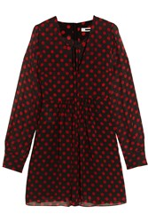 Mcq By Alexander Mcqueen Polka Dot Chiffon Mini Dress Black Red