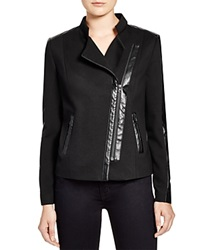 Nydj Faux Leather Trim Ponte Moto Jacket