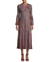 J. Mendel Long Sleeve A Line Pattered Pleated Godet Cocktail Dress Rust