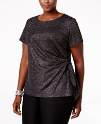 Msk Plus Size Glitter Side Tie Evening Top Black Multi