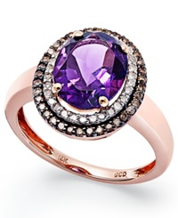 Macy's Amethyst 2 3 8 Ct. T.W. And Diamond 1 3 Ct. T.W. Ring In 14K Rose Gold