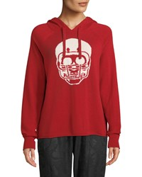 360 Sweater Collegiate Skull Cashmere Hoodie Red Pattern