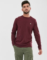 Abercrombie And Fitch Icon Logo Long Sleeve Top In Burgundy Red