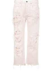 Alexander Wang Distressed Cropped Jeans Pink And Purple