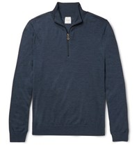 Paul Smith Merino Wool Half Zip Sweater Navy