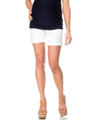 A Pea In The Pod Cuffed Maternity Shorts White