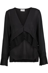 Tanya Taylor Britt Tiered Pleated Silk Georgette Blouse Black
