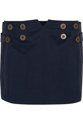Topshop Unique Raleigh Twill Paneled Shell Mini Skirt Midnight Blue