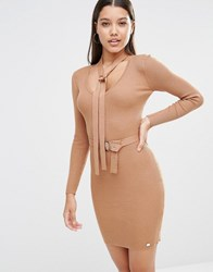 Lipsy Michelle Keegan Loves Button Up Jumper Dress With Neck Tie Camel Brown