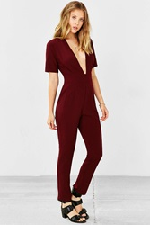 Silence And Noise Silence Noise Plunging Short Sleeve Jumpsuit Maroon