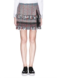 Thakoon Boucle Tweed Lace Insert Mini Skirt Multi Colour