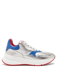 Alexander Mcqueen Runner Raised Sole Low Top Leather Trainers Silver Multi