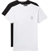 Versace Two Pack Slim Fit Logo Print Stretch Cotton Jersey T Shirts Multi