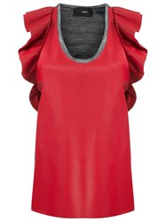 Andrea Bogosian Leather Top Red