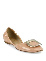 Roger Vivier Ballerine Chips Patent Leather D'orsay Flats Nude