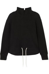 Bassike Cotton Fleece Turtleneck Top Black