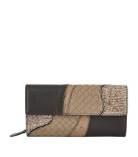 Bottega Veneta Continental Patchwork Wallet Female Black