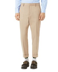 Gucci Brushed Cotton Chino Pants Oatmeal Neutral Pattern