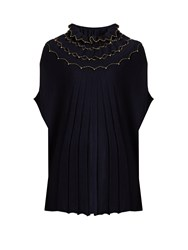 Alex Gore Browne Carnival Ruffled Neck Wool And Cashmere Blend Cape Navy