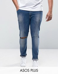 Asos Plus Super Skinny Jeans With Knee Rips Mid Blue