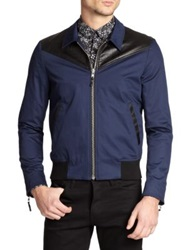 The Kooples Leather Trimmed Stretch Cotton Jacket Navy Black