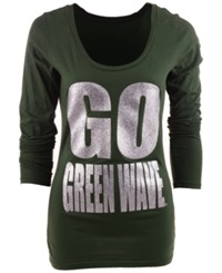 Blue 84 Women's Long Sleeve Tulane Green Wave Flicker T Shirt Forestgreen