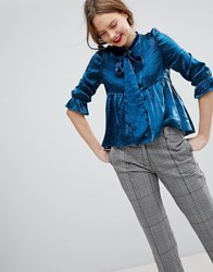 Sister Jane Pussybow Blouse With Ruffle Shoulder In Metallic Fabric Blue