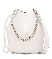 Alexander Mcqueen Small Leather Bucket Bag White