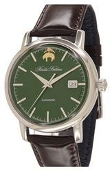 Brooks Brothers 'Core' Automatic Leather Strap Watch 42Mm Brown Green Silver
