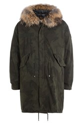 Barbed Printed Cotton Parka With Fur Trimmed Hood Green