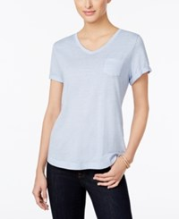 Styleandco. Style Co. Petite Burnout V Neck T Shirt Only At Macy's Blue Fog