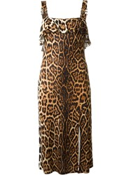 Christian Dior Vintage Leopard Print Dress Brown