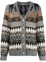 Stella Mccartney Knitted Patterned Cardigan Grey