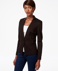 Bar Iii Long Sleeve Faux Leather Trim Blazer Only At Macy's Deep Black