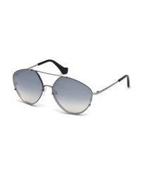 Balenciaga Metal Geometric Aviator Sunglasses Black