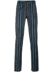 Etro Striped Tapered Trousers Blue