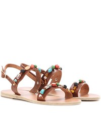 Ancient Greek Sandals Clio Stones Leather Sandals Brown