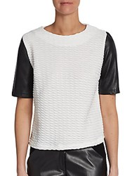 Saks Fifth Avenue Red Short Sleeve Mixed Media Colorblock Top Black White