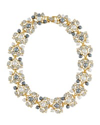 Pearly Crystal Vine Collar Necklace Golden Gray Women's Gold Pearl Kenneth Jay Lane