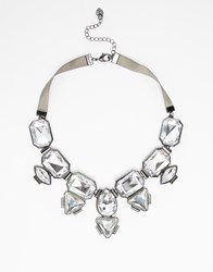 Lipsy Multi Statement Stone Necklace With Ribbon Silver