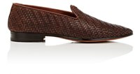 Barbanera Men's Rimbaud Woven Leather Venetian Loafers Dark Brown Brown Dark Brown Brown