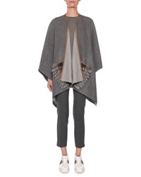 Agnona Open Front Cashmere Shawl With Fur Pockets Gray