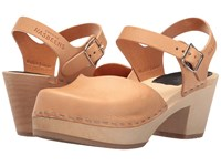 Swedish Hasbeens Covered High Nature 2 Clog Shoes Tan